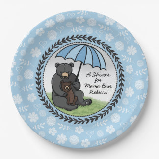 Mama Bear and Cub, Personalized Baby Shower Boy Paper Plate