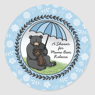 Mama Bear and Cub, Personalized Baby Shower Boy Classic Round Sticker
