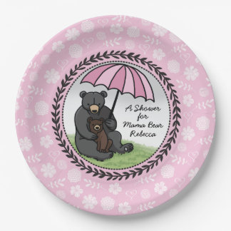 Mama Bear and Cub, Personalized Baby Shower Girl Paper Plate