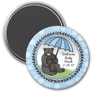 Mama Bear and Cub, Personalized Welcome Baby Boy 3 Inch Round Magnet
