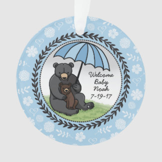 Mama Bear and Cub, Personalized Welcome Baby Boy Ornament