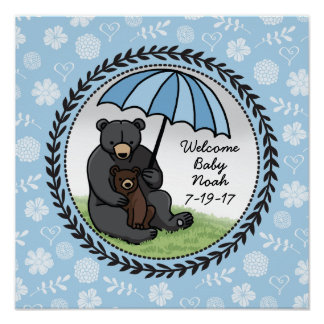 Mama Bear and Cub, Personalized Welcome Baby Boy Poster