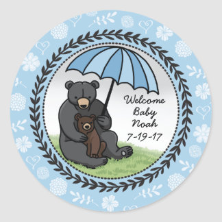 Mama Bear and Cub, Personalized Welcome Baby Boy Classic Round Sticker