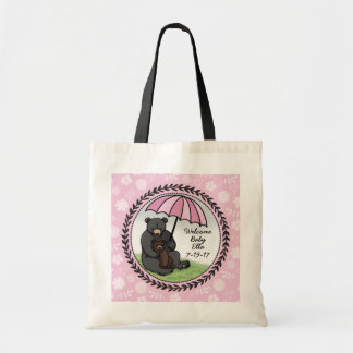 Mama Bear and Cub, Personalized Welcome Baby Girl Budget Tote Bag