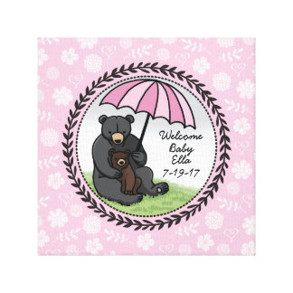 Mama Bear and Cub, Personalized Welcome Baby Girl Canvas Print