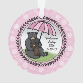 Mama Bear and Cub, Personalized Welcome Baby Girl Ornament