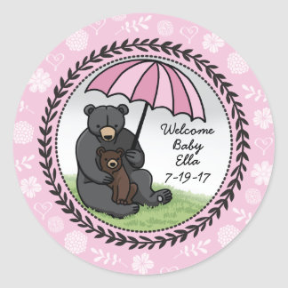 Mama Bear and Cub, Personalized Welcome Baby Girl Classic Round Sticker