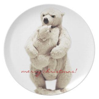 mama bear and teddy bear melamine plate