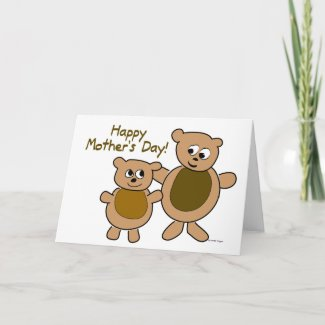 Mama Bear Baby Bear Happy Mother's Day Card