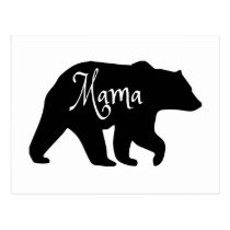 Mama Bear black and white Postcard