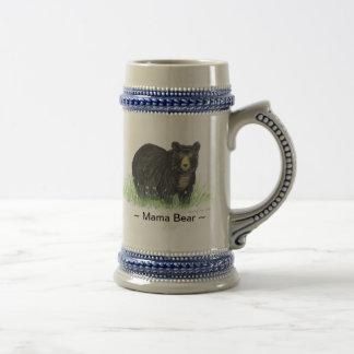 ~ Mama Bear ~ Black Bear blue trim beer stein 18 Oz Beer Stein