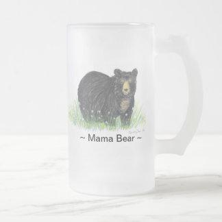 ~ Mama Bear ~ Black Bear glass beer mud [ stein ], 16 Oz Frosted Glass Beer Mug