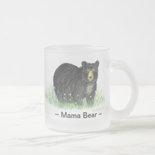~ Mama Bear ~ Black Bear glass beer mug ,