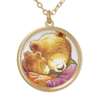 Mama Bear Hug Round Pendant Necklace