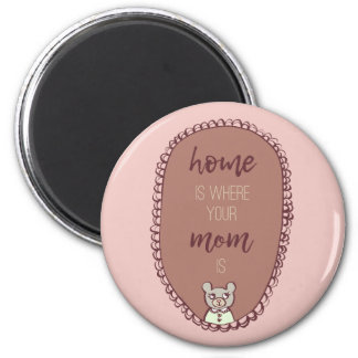 """Mama Bear Illustration """"home is where your mom is"""" Magnet"""