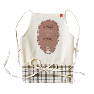 "Mama Bear Illustration ""home is where your mom is"" Zazzle HEART Apron"
