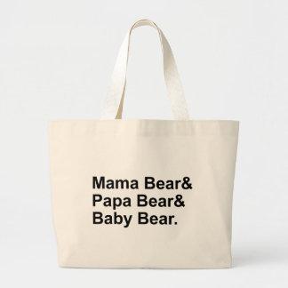 Mamá Bear, oso de la papá, oso del bebé el | Bolsa Tela Grande