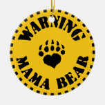 Mama Bear Warning Double-Sided Ceramic Round Christmas Ornament