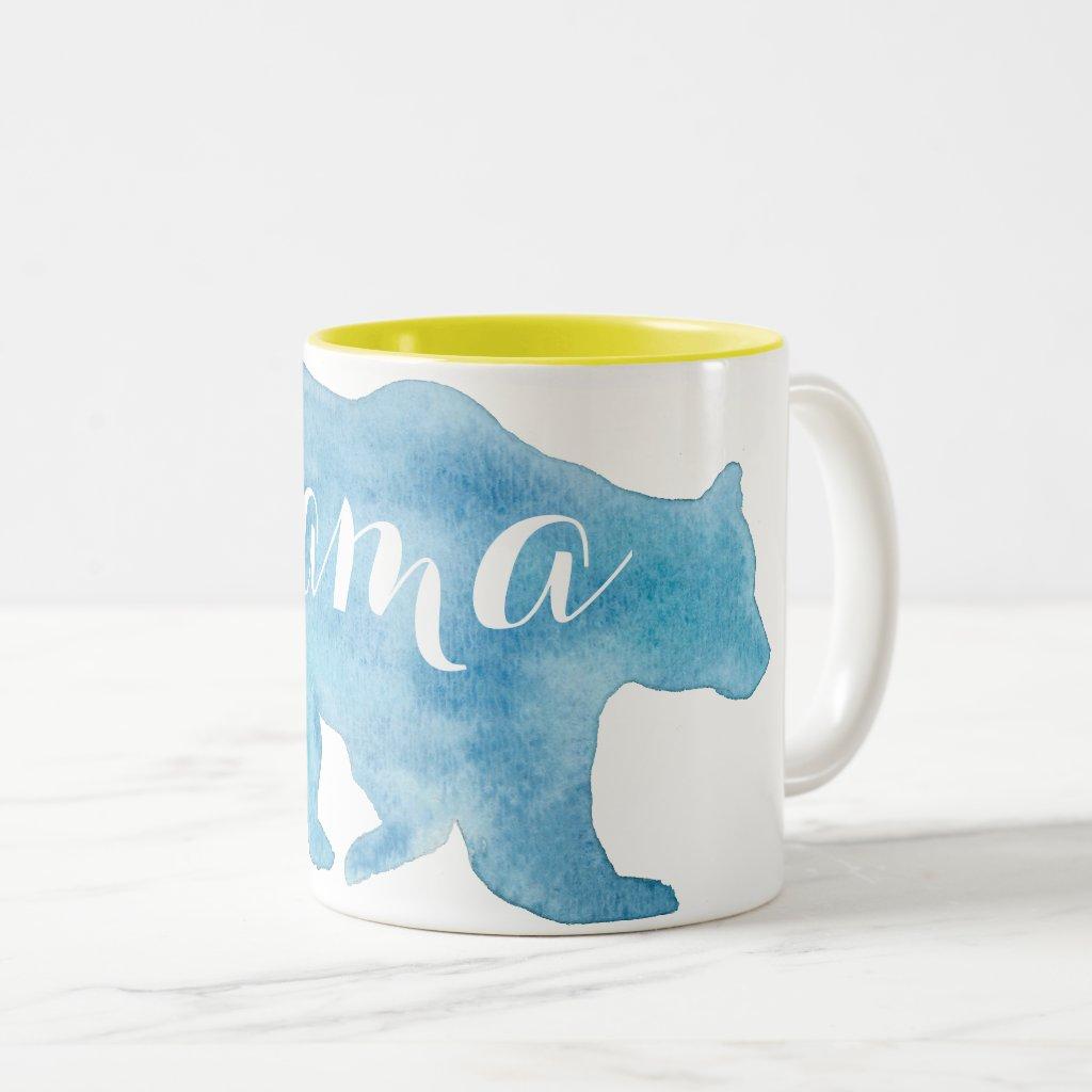 Mama Bear Watercolor Two Tone Mug