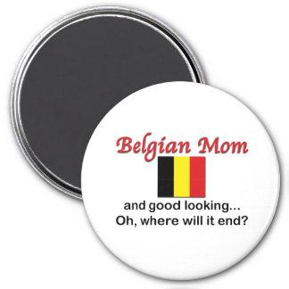Mamá belga apuesta imán redondo 7 cm