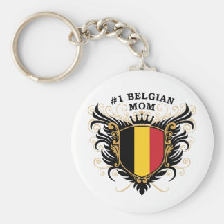 Mamá belga del número uno llavero redondo tipo pin