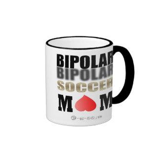 Mamá bipolar oficial del fútbol taza de dos colores