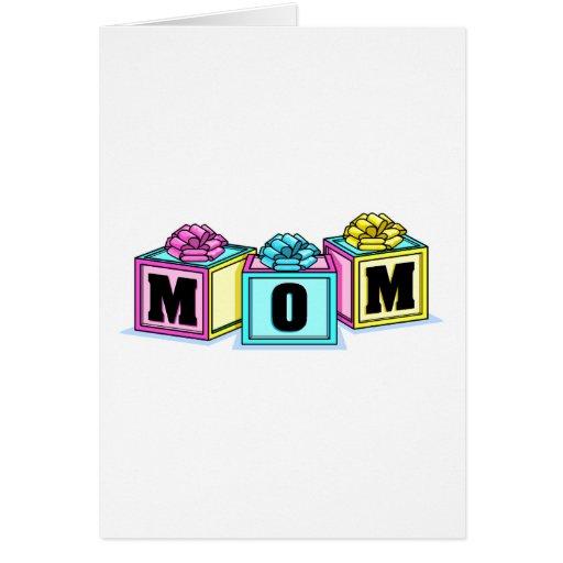 Mamá (bloques) tarjeta de felicitación