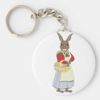 Mama Bunny with Egg Basket Keychain