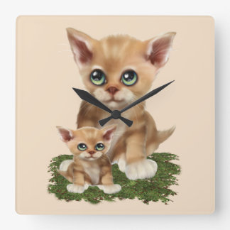 Mama Cat and her Kitten Square Wall Clock