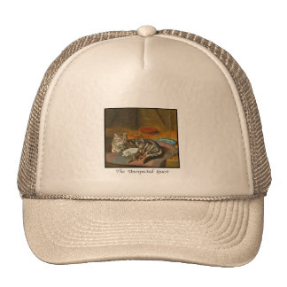 """Mama Cat & Puppy: """"The Unexpected Guest"""" Mesh Hat"""