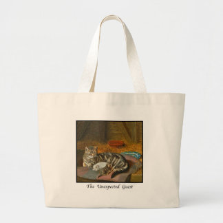 "MAMA CAT & PUPPY: ""The Unexpected Guest"" Large Tote Bag"