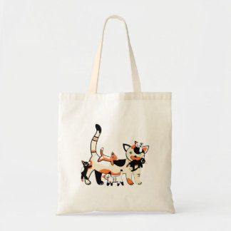 Mama cat with kittens funny picture. tote bag