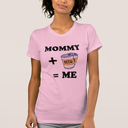 Mamá + cerveza = yo camiseta del bebé playeras
