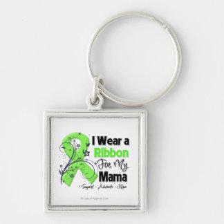 Mamá - cinta del linfoma llavero cuadrado plateado