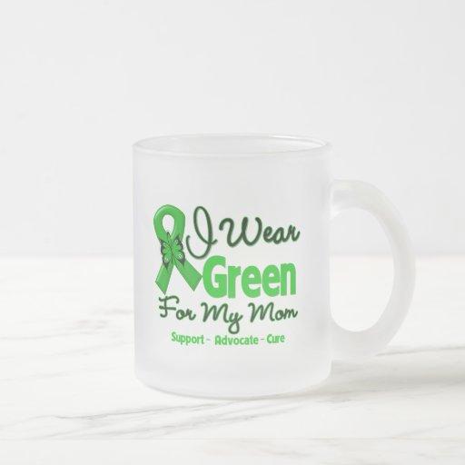 Mamá - cinta verde de la conciencia taza cristal mate