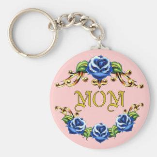 Mamá color de rosa azul llaveros personalizados