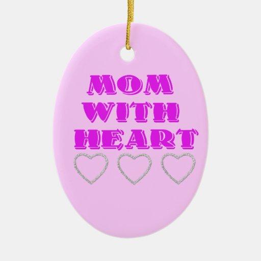 Mamá con el corazón adorno navideño ovalado de cerámica