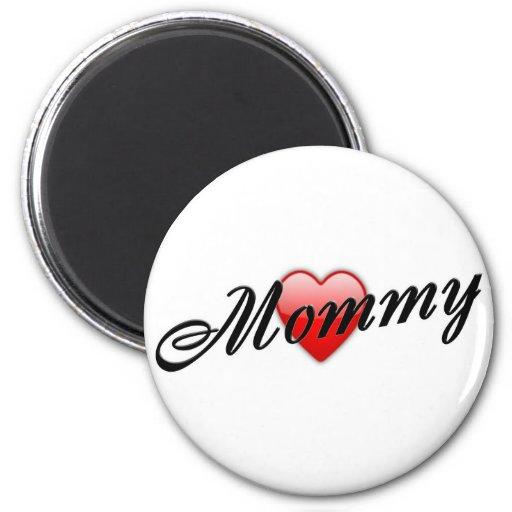 Mamá con el corazón imán redondo 5 cm