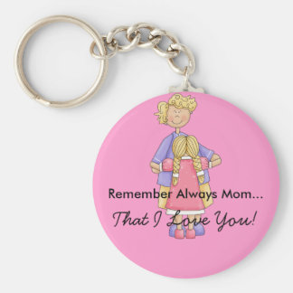 Mamá con el producto del personalizable de la hija llavero redondo tipo pin