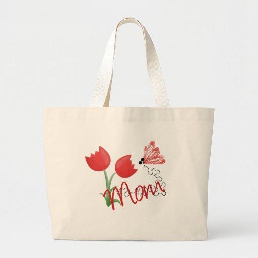 Mamá con el tulipán y la mariposa rojos bolsa tela grande