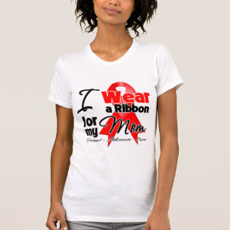 Mamá - conciencia roja de la cinta camiseta