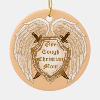 Mamá cristiana dura adorno navideño redondo de cerámica