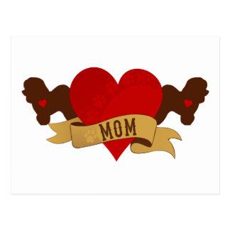 Mamá de Bichon Frise [estilo del tatuaje] Tarjeta Postal