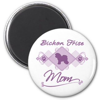 Mamá de Bichon Frise Imán Redondo 5 Cm