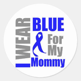 Mamá de Blue Ribbon del desgaste del cáncer de Pegatina Redonda