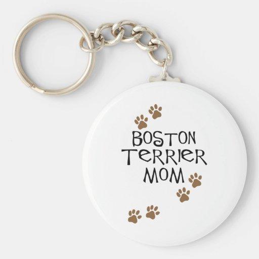 Mamá de Boston Terrier Llavero Redondo Tipo Pin