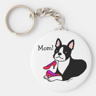 Mamá de Boston Terrier (regalos del día de madre) Llaveros