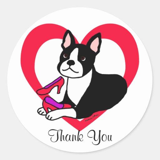 Mamá de Boston Terrier y dibujo animado de los tac Pegatinas