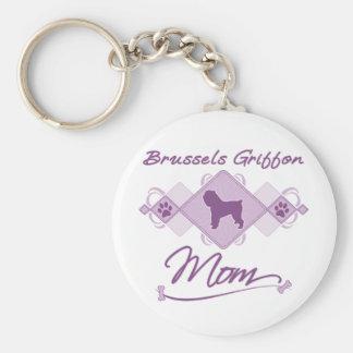 Mamá de Bruselas Griffon Llavero Redondo Tipo Pin