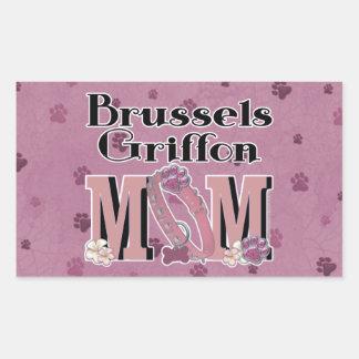 MAMÁ de Bruselas Griffon Pegatina Rectangular